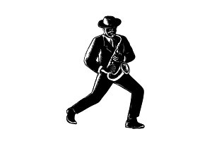 Jazz Musician Playing Sax Woodcut