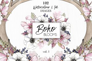 Watercolor & Ink ClipArt Boho Blooms
