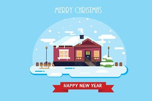 Merry Christmas. Winter postcard