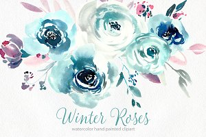 Watercolor blue winter roses PNG