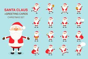 Santa Claus. Christmas set.