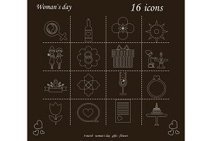 I love you womens doodle 16 icon in set of womens day