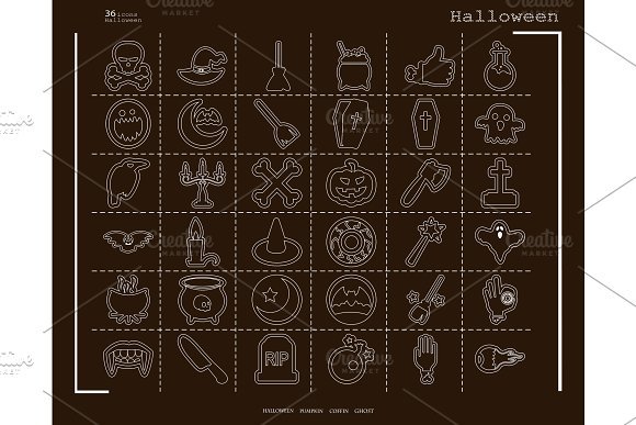 Collection Of 36 Halloween Icons Vector Illustration In Thin Line Style