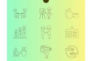 Outline web icon set - money, finance, payments withhumans silhouette