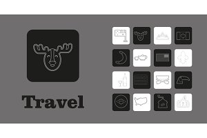 Travel Line Icons for Web and Mobile. Thin line icons. on grey background