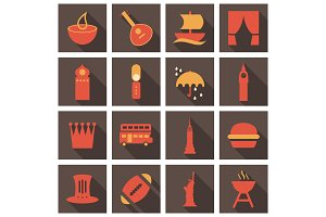 Travel symbols and Tourism signs, vector illustration