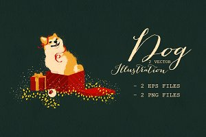 Dog Christmas Illustration