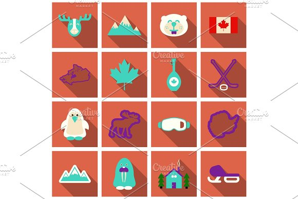 Set of winter icons different objects sport equipments and animals in Objects