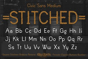 Civic Sans Medium Stitched