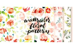 watercolor flower pattern package