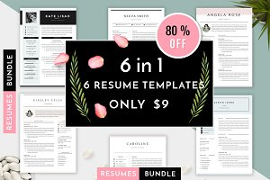 6 in 1 Resume Templates Bundle Vol 1