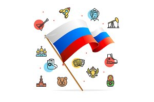 Russia Design Concept and Flag. Vect