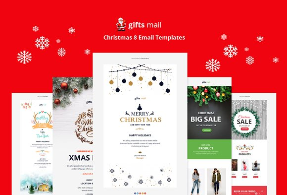 Gifts Email - 8 Christmas Templates ~ Email Templates ~ Creative Market