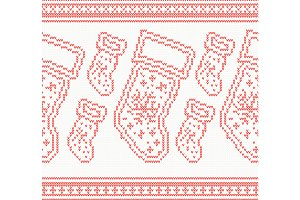 Knitted Christmas Socks Seamless
