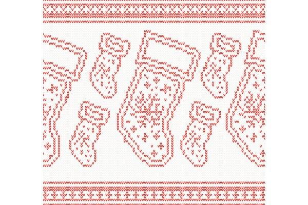 Knitted Christmas Socks Seamless