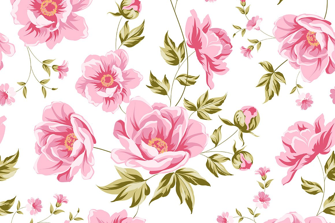 Elegant Seamless Peony Pattern Graphic Patterns Creative Market