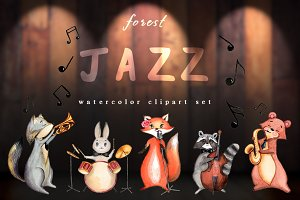 Watercolor Clipart Set - Forest Jazz