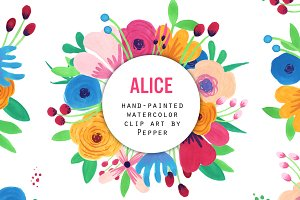 Watercolor Flower Clipart - Alice