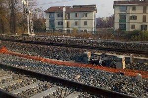 railway tracks in suburban scene