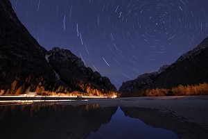 Star trails at night sky