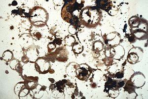 Coffee stains, isolated on white. So