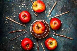 Red apples with chocolate coating