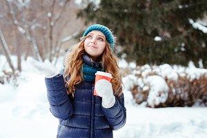 lovely girl. winter walk in the park