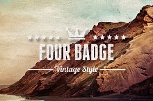 4 Badges Vintage Style