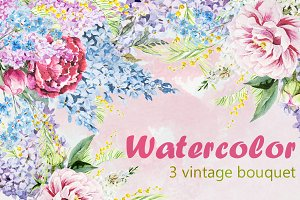 Watercolor Vintage Bouquets