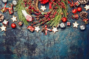 Vintage Christmas with decoration