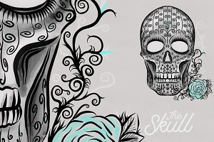 The Skull - Teal with Flourishes