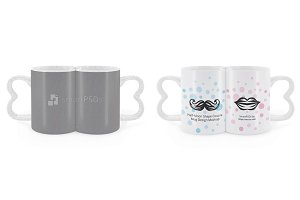 Half Moon Shape Couple Coffee Mugs