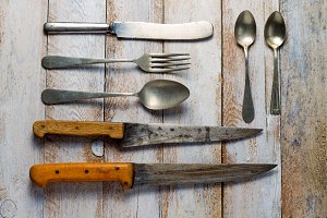 Old kitchen cutlery