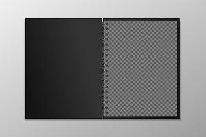 Realistic spiral notepad mockup