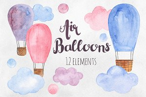 Air balloons watercolor clip art