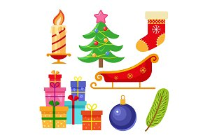 Set of flat style colorful Christmas icons