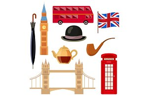Set of flat style London, England icons, symbols