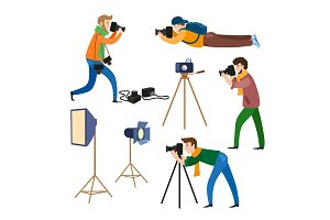 Photographers at work and professional equipment