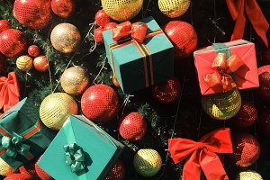 Close Up Christmas Tree and Presents