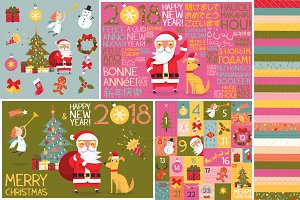 Christmas elements and cards