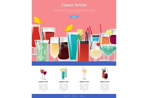 Classic Drinks Web Poster with Samples of Alcohol
