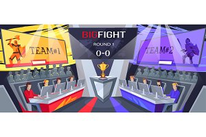 Cybersport Teams Big Fight on Vector Illustration