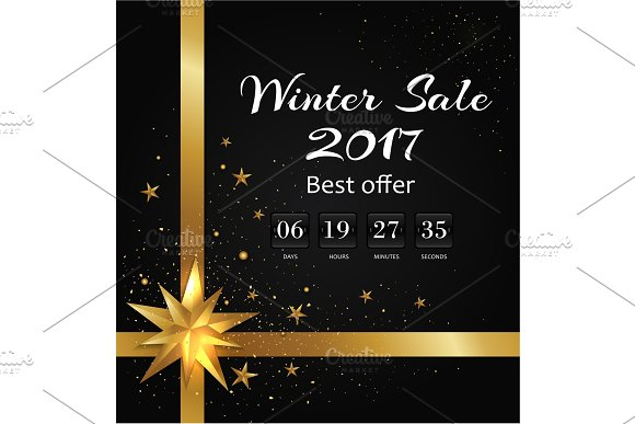 Winter Sale Poster with Back-off Timer Christmas