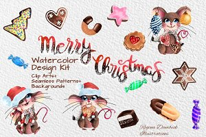 Mousy Christmas Watercolor Bundle