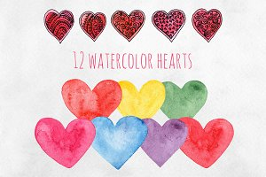 Watercolor hearts Valentines clipart