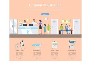 Hospital Registration Desk Vector Illustration