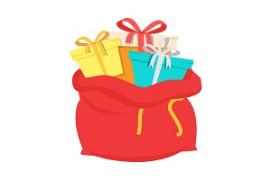 Santa Claus Red Bag with Gift Box Isolated Vector
