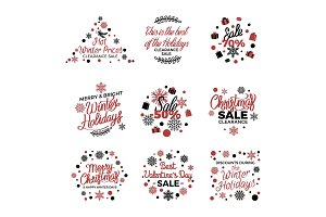 Winter Holiday Sale Labels Vector Poster on White