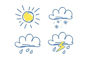 Weather Set of Icons on Vector Illustration Blue