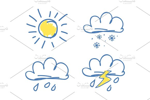 Weather Set of Icons on Vector Illustration Blue in Illustrations